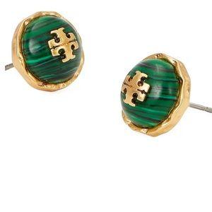 Tory Burch green & gold rope stud earrings
